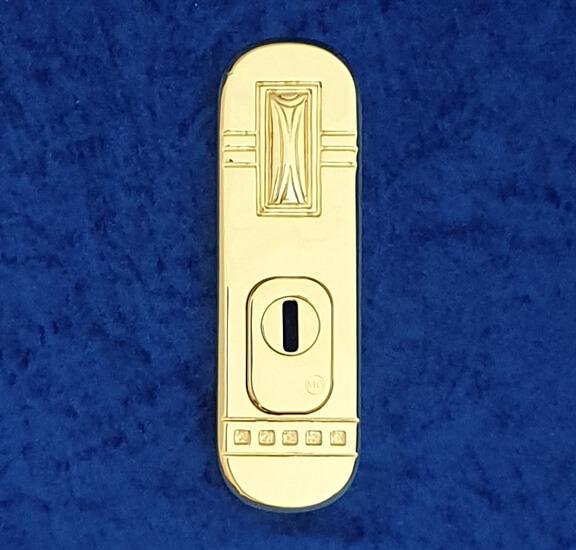 Stangenschlossrosette Ornamentik mit KZS - Messing-Zawadski